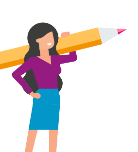 A woman holding a pencil