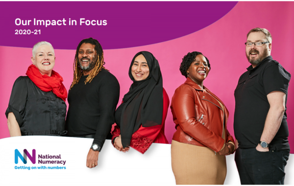 Cover image from National Numeracy's 2020 impact report, showing five of our Heroes.