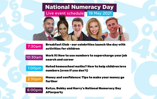 Image showing the live events schedule on National Numeracy Day - all information is included in the article